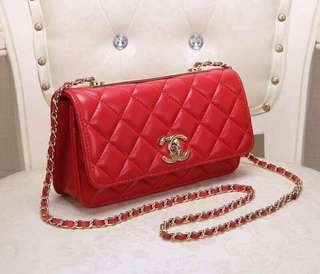 Chanel Red Quilted Lambskin Trendy CC Wallet on Chain GHW 25cm