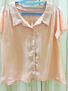 🚚 手作-雪紡粉紅襯衫