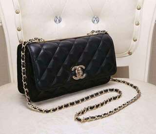 Chanel Black Quilted Lambskin Trendy CC Wallet on Chain GHW 25cm