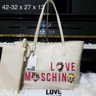 Love Moschino embroidered embelished tote ivory
