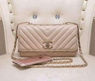 Chanel Beige Chevron Lambskin Trendy CC Wallet on Chain GHW 25cm