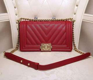 Chanel Red Chevron Caviar Le Boy GHW 25cm