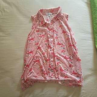 floral summer sleeveless shirt