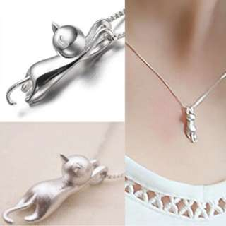 Women 925 Sterling Silver Lovely Jumping Cat Pendant Charm Necklace Jewelry
