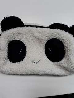 Panda Furry Full Zip Pouch Pencil Case Full Compartment No pocket