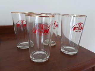 set of 4 vintage Franer & Neave F&N glasses