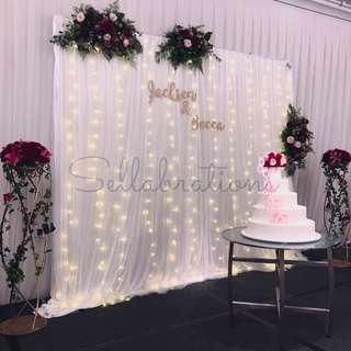 [Sellabrations] Wedding Fairy Lights Backdrop White Mesh + Calligraphy names