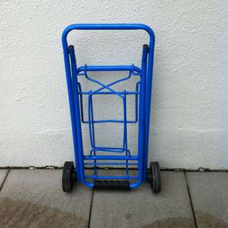 Blue trolley. Dimension height 90cm, when collapse 50 x 30 x9cm.