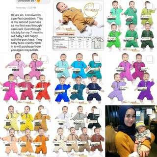 Please slide the images EQAAF BAJU KURUNG ROMPER raya Eid samping newborn