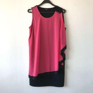 Black Dress With Pink Drape Detailing