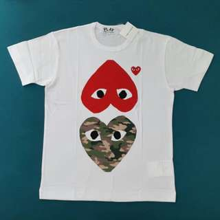 CDG Play 2 Heart Red & Camouflage T-shirt