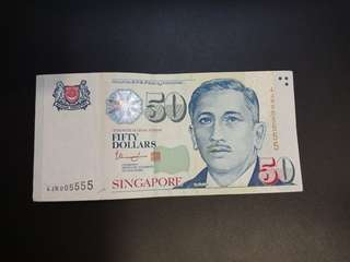 $50 Singapore Notes with 005555