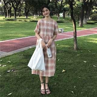 夏裝韓版學院風寬鬆百搭短袖格子連衣裙女學生長裙