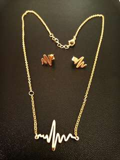 Heartbeat Necklace And Earrings