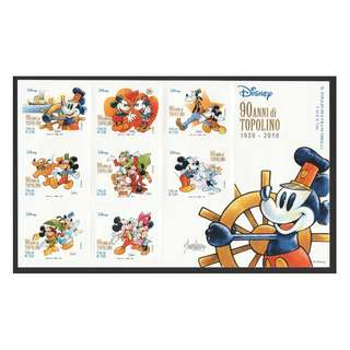 ITALY 2017 DISNEY MICKEY MOUSE SOUVENIR SHEET OF 8 STAMPS IN MINT MNH UNUSED CONDITION