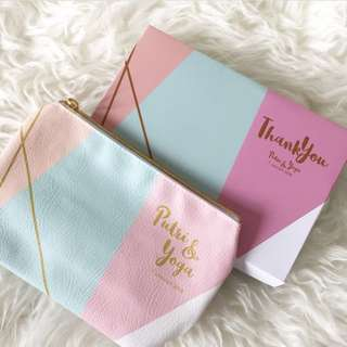 🚚 CUSTOM COSMETIC POUCH green pink gold marble