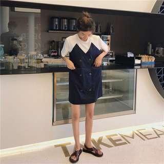 Fake two piece stitching cute dress