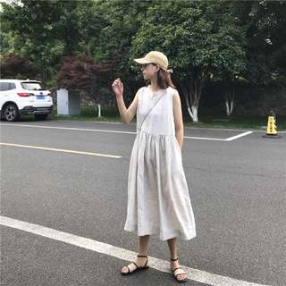 文藝質感棉麻無袖高腰娃娃背心裙連衣裙女學生(2色)