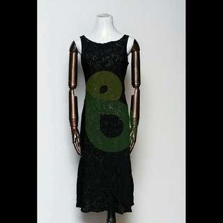 Kako Elegant Pre-Loved Black Printed Dress Large