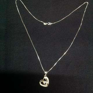 Genuine 925 Sterling Italy Silver Heart w/ Gem Stones Necklace