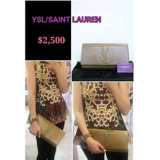 99% New YSL/ Saint Lauren 杏啡色漆皮 LOGO (大) 晚宴袋 手提袋  手袋 Beige Brown Patent Handbag Clutch