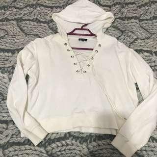 Bardot cropped white hoodie