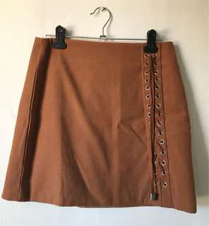 Korean brown Mini skirt