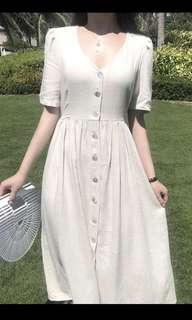 (PO) Linen button down flare dress in oatmeal