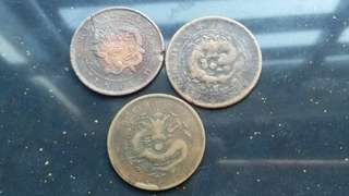 3pcs china dragon copper coin
