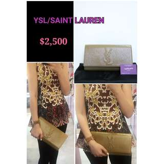 99% New YSL/ Saint Lauren 杏啡色漆皮 LOGO (大) 晚宴袋 手提袋  手袋 Beige Brown Patent Handbag Clutch
