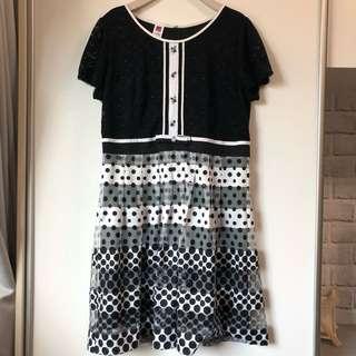 🚚 伊蕾ILEY。2XL號大尺碼洋裝。黑白。點點。連身裙。