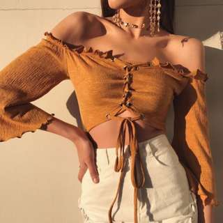 Mustard Yellow Off the Shoulder Crop Top