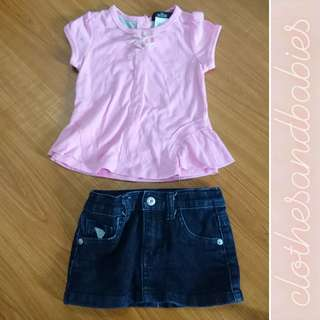 Guess Pink Top and Skirt