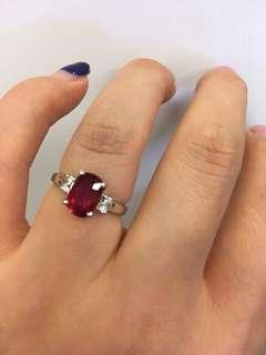 天然红宝石無烧戒指
