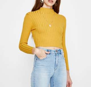 Bodycon Rib Polo Neck Top Yellow