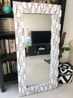 White Stacked Mirror in Rustic White