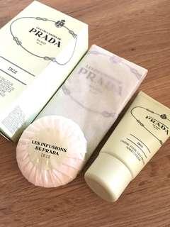 ❤️Prada Iris Coffret Voyage Travel Set (Soap, Hand Cream & Cotton Drawstring Bag)