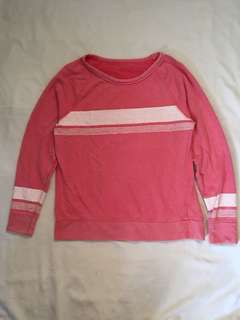 Pink Long sleeves with white stripes