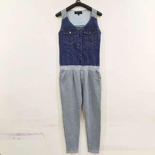 Denim + Gray Jumpsuit