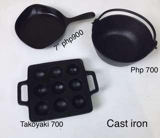 Cast iron takoyaki pan casserole skillet