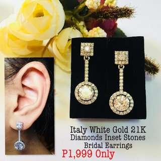 Italy White Gold 21k Diamonds Insert Stone Bridal Earrings