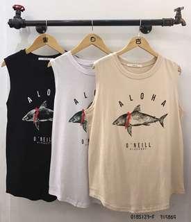 🚚 🌟018S123 - ALOHA魚寬肩下擺圓弧背心❤️