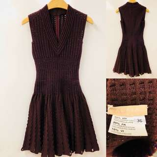 Alaia brown vest neck dress size 36