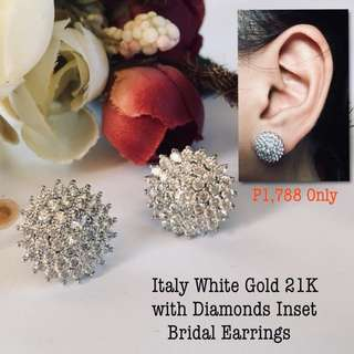 Italy White Gold 21k With Diamonds  Insert Bridal Earrings
