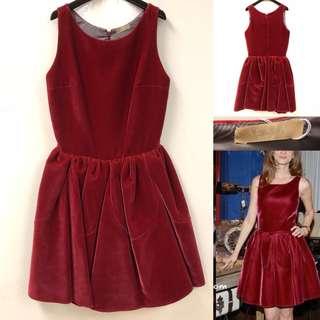 斯文裙 Alaia red velvet vest dress size 38