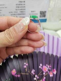 天然翡翠 18K鑲鑽戒指