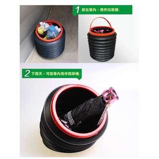 車用折疊垃圾筒 魔術桶 車內置物收納桶 車載4L大容量伸縮袋 汽車多功能雜物桶 可掛式萬用袋 水桶 車後備箱整理