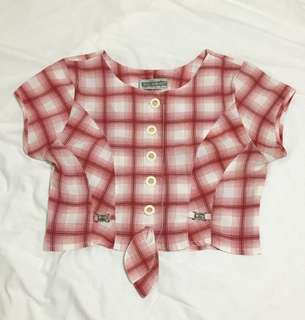 Red Checkered Cropped Top