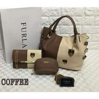 FURLA Tote Bag 3 in 1 Coffee Color