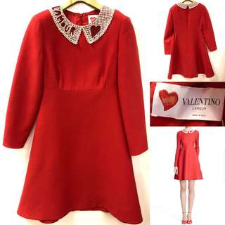 斯文裙 Valentino red with beads collar dress size 38